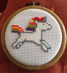 Little 3 inch unicorn cross stitch. Available on etsy now https://www.etsy.com/listing/235992438/3-inch-unicorn-cross-stitch