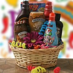 """Summer Gift basket... ice cream items, yes, but also I think a few """"grill"""" items too like condiments and definitely BBQ.  Maybe some rubs too."""