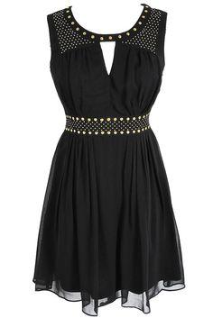 Gold Studded Chiffon Dress in Black