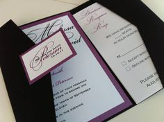 The Andria Invitation Suite Pocket Fold by doubletroubledesigns, $6.50