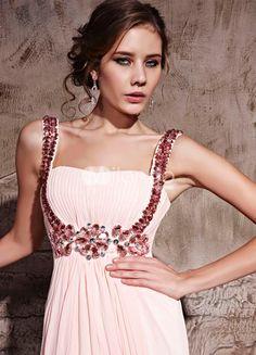 Pink Chiffon A-line Straps Graduation Dress - Milanoo.com