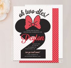 Minnie Mouse Twodles Birthday Invitation - Twodles Invite, Twodles Invitation, Two-dles, DIY Templat Cheap Birthday Invitations, Minnie Mouse Birthday Invitations, Mickey Mouse Birthday, Minnie Mouse Party, Second Birthday Ideas, 2nd Birthday Parties, Birthday Fun, Third Birthday, 1st Birthdays