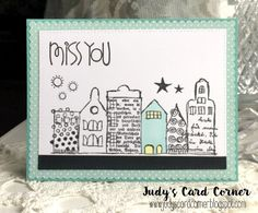 Judy's Card Corner Rubber Dance Stamps Textured Houses