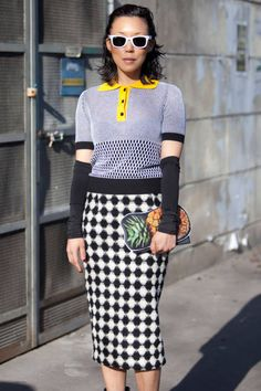 Her sense of style - and her pineapple clutch! | Street Style Fall 2014