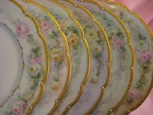 """""""Hand painted ROSES & JEWELS """" ~ Set of Eleven Breathtaking Antique Limoges France Fine Art Dessert Plates Afternoon Floral Tea Plates 19th Century American Victorian Period Tressemann and Vogt, circa 1900"""