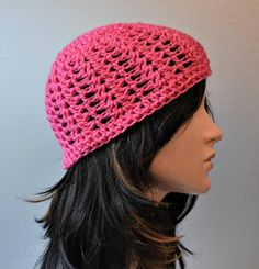 Click here for 15% OFF your entire Etsy Order. https://www.etsy.com/shop/pinoakstudiotoo?coupon=PIN15OFF Pink Poppy Shortie Beanie Womens Crochet Hat Breast Cancer