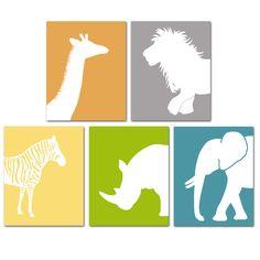 Image of Jungle Animal Nursery Art Prints Set of 5 - Elephant, Giraffe, Zebra, Lion & Rhino
