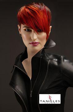 Tangles Salon, Wichita Falls, TX. Hair Color, Goldwell Hair Color, Hair Style, Hair, Runway Hair, Red Hair, Bob Hair, Short Hair