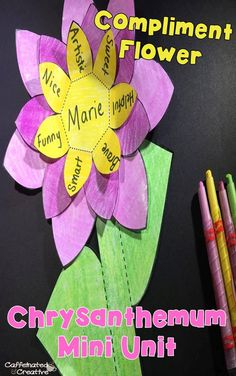 """This compliment flower craftivity is part of a Chrysanthemum Mini Unit. Are you looking for a fun way to incorporate the loved book """"Chrysanthemum"""" into your classroom? This unit has a variety of educational and fun activities to correlate with the book. This mini unit includes no prep printables, two crafts and a lesson on bullying. This unit is geared towards second graders, but can be used of talented first graders or struggling third graders. $"""
