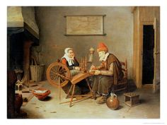 Interior with a Old Woman at a Spinning Wheel, 1657  By: Gerritsz. Quiryn Van Brekelenkam