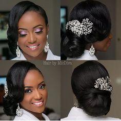 Schöne Braut @ Haare von Make-up von Pho . Black Brides Hairstyles, Black Bridesmaids Hairstyles, Bride Hairstyles, Hairstyles 2018, Wedding Hair And Makeup, Bridal Makeup, Hair Makeup, Hairdo Wedding, Wedding Hair Styles