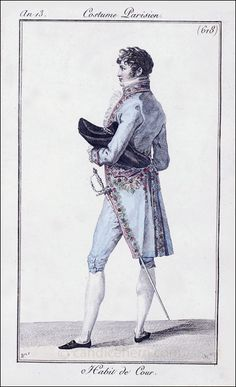 French Gentleman's Court Dress, February 1805 | CandiceHern.com