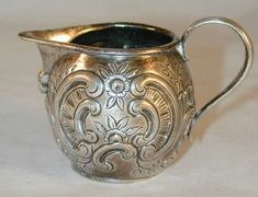 1760's French Silver Miniature Creamer Repousse Floral and Foliate Design With Flat Chased Floral Sprigs Fully Hallmarked
