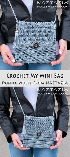 DIY Tutorial How to Crochet My Mini Bag with YouTube Video by Donna Wolfe from Naztazia