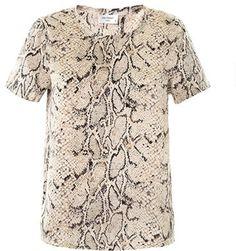 138 Equipment Riley python-print silk T-shirt on shopstyle.co.uk