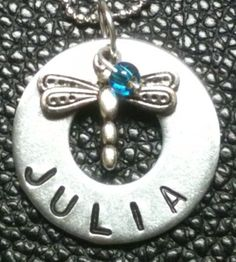 Personalized Metal Stamped Washer Necklace by SplintersFromHeart,