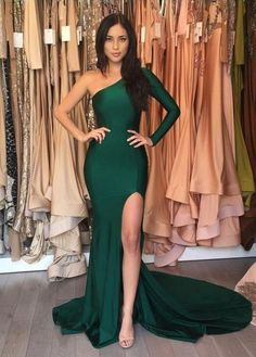 Emerald Green Long Prom Dresses,Sexy Mermaid Evening Dress,One