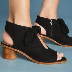 47b37ff605e Plus Size Bow Peep Toe Heels Zipper Chunky Heel Booties