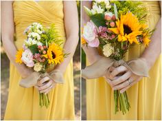 Country wedding, yellow, bouquet, burlap  Erin Lindsey Images - www.erinlindseyimages.com