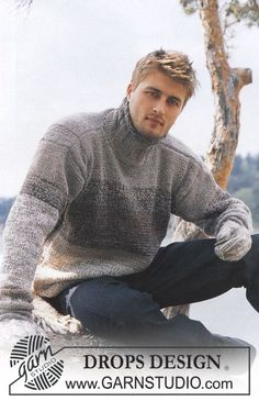 DROPS Pullover in Alpaca and Safran and Mittens in Karisma Superwash Free pattern by DROPS Design. Knitting Kits, Sweater Knitting Patterns, Free Knitting, Drops Design, Knit Fashion, Alpacas, Men Sweater, Mittens, Free Pattern