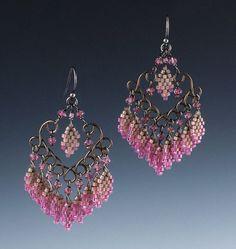 Pink Paris Chandeliers - Peyote beaded earrings -