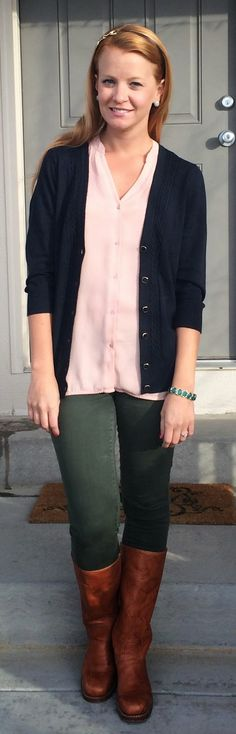 Sweet Bananie - blush blouse, navy cardigan, olive skinnies + boots