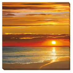 Add an element to your wall that will turn the heads of passersby when you choose this contemporary stretched canvas art by artist Dan Werner. This unframed art is a seascape composition that depicts a sunset over tranquil, calm ocean waters.