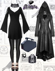 Everything can be found on our website: Butterfly Dress (Punk Rave), Black Metal Leggings (Punk Rave), Dark Angel Coat (Punk Rave), Coffin Purse (Kreepsville 666), Wicked Bracelet (Restyle), Wicked Choker (Restyle), Lupus Ring (The Rogue + The Wolf)