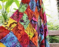 Floral Print tailandés algodón Patchwork Boho falda suave - cintura elástica OM1708-03