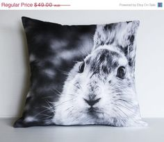 ON SALE 16 inch decorative pillow RABBIT Bunny by mybeardedpigeon, $39.20