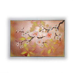 "orange Cherry blossoms Art Original small Painting 38 by KSAVERA 8""x12"" Flowers Art Nouveau Sakura painting on canvas birthday for mom her by KsaveraART #TrendingEtsy"