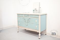 A van Gogh Fossil painted dresser in Cashmere and River Tides!
