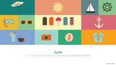 June brings the smell of summer! And all we can think is of Beaches, Sunbathing, Diving, Surfing, Holidays, Ice-creams, Drinks, Music...WOW life gets better!  A neatly designed wallpaper just for you.  #Wallpaper #Desktop #June #Calender #Summer #Holiday