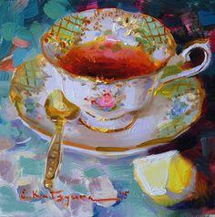 Tea on Green by Elena Katsyura Oil ~ 6 x 6