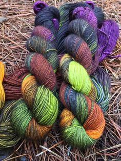 hand dyed yarn by the copper corgi Carolina Fiber Ghouls