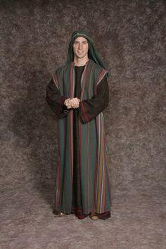 $20.00 Nativity Man #3 brown long tunic w/maroon trim, green & multi colored striped long tunic, green headpiece