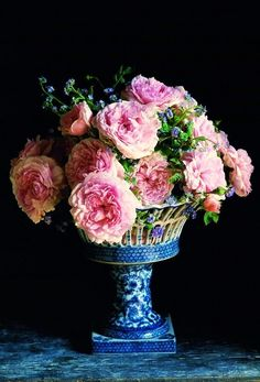 ballerina67:    Beautiful English Roses in lovely blue containers