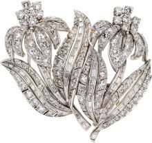 Estate Jewelry:Brooches - Pins, Diamond, Platinum Double-Clip-Brooch, circa 1950. ...