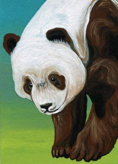 ACEO ATC Giant Brown Panda Bear Art Original Miniature Painting- Carla Smale #Realism