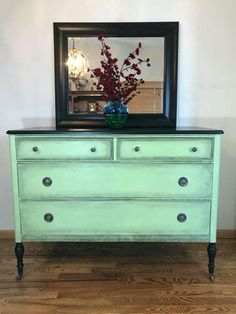 green painted dresser - painted furniture