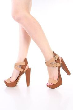 Two Tone Open Toe Cross Ankle Strap Chunky Heel Natural