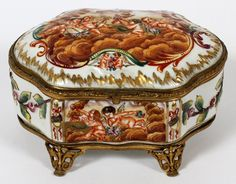 FRENCH CAPO DE MONTE PORCELAIN JEWEL BOX :