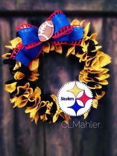 Pittsburgh Steelers football burlap wreath on Etsy, $65.00
