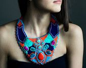 Big, bold chunky African necklace - multi colored tribal statement collar - bead embroidery jewelry - mixed gemstone seed bead turquoise