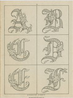 Embroidered Monograms to print out ~ Free Historic Old Pattern Books: Sajou No 236