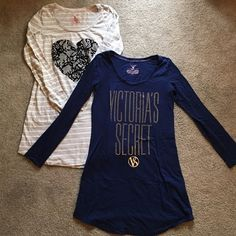Victoria's Secret Long Sleeve Nightie Set of 2 XS Victoria's Secret Long Sleeve Nightie Set of 2. Grey and white stripe with black damask heart. navy blue/dark indigo with gold rhinestones. XS. pre-loved but washed and in great condition. Victoria's Secret Intimates & Sleepwear Pajamas
