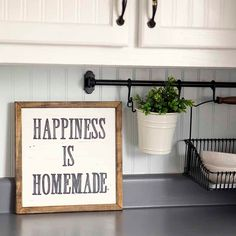 HAPPINESS IS HOMEMADE Handpainted Sign, Handmade, 12x12, Wall Sign, Cottage Decor, Kitchen, Wall Gallery by DownGraceLane on Etsy