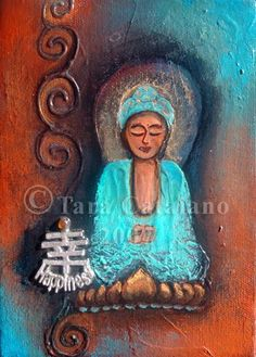 Mini Buddha Abstract Painting  by Tara Catalano on Etsy