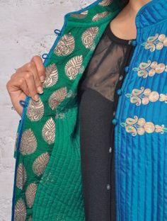 Blue Mughal Code-Work Quilted Silk Jacket Sleeve Designs, Blouse Designs, Indian Anarkali, Silk Jacket, Pakistani Suits, Saree Dress, Asian Fashion, Fashion Outfits, Couture