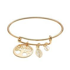 Tree of Life & Leaf Charm Bangle Bracelet, Gold
